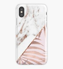 Rose gold marble & tropical ferns iPhone Case