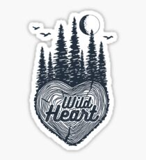 Wild Heart Wanderlust Forest with Full Moon and Birds Sticker