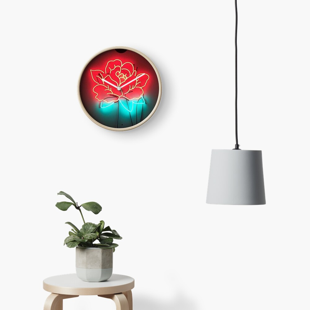 rosa de neón Reloj
