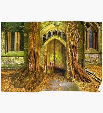 Yew Trees and North Door, St. Edwards Parish Church, Stow on the Wold, England Poster