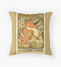 Antique Art Nouveau,  Pre-Raphaelite, Botanical, Decorative Art Poster Throw Pillow