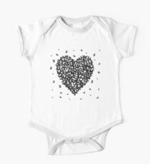 Heart - summer card design, black butterfly on white background Kids Clothes