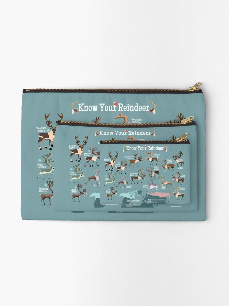 Alternate view of Know Your Reindeer Zipper Pouch
