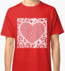red white heart on red floral ornament background. Optical illusion of 3D three-dimensional volume Classic T-Shirt