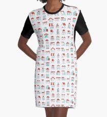 Buildings Sticker like Icons Set Graphic T-Shirt Dress