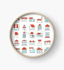 Buildings Sticker like Icons Set Clock