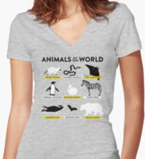 Animals of the world Women's Fitted V-Neck T-Shirt