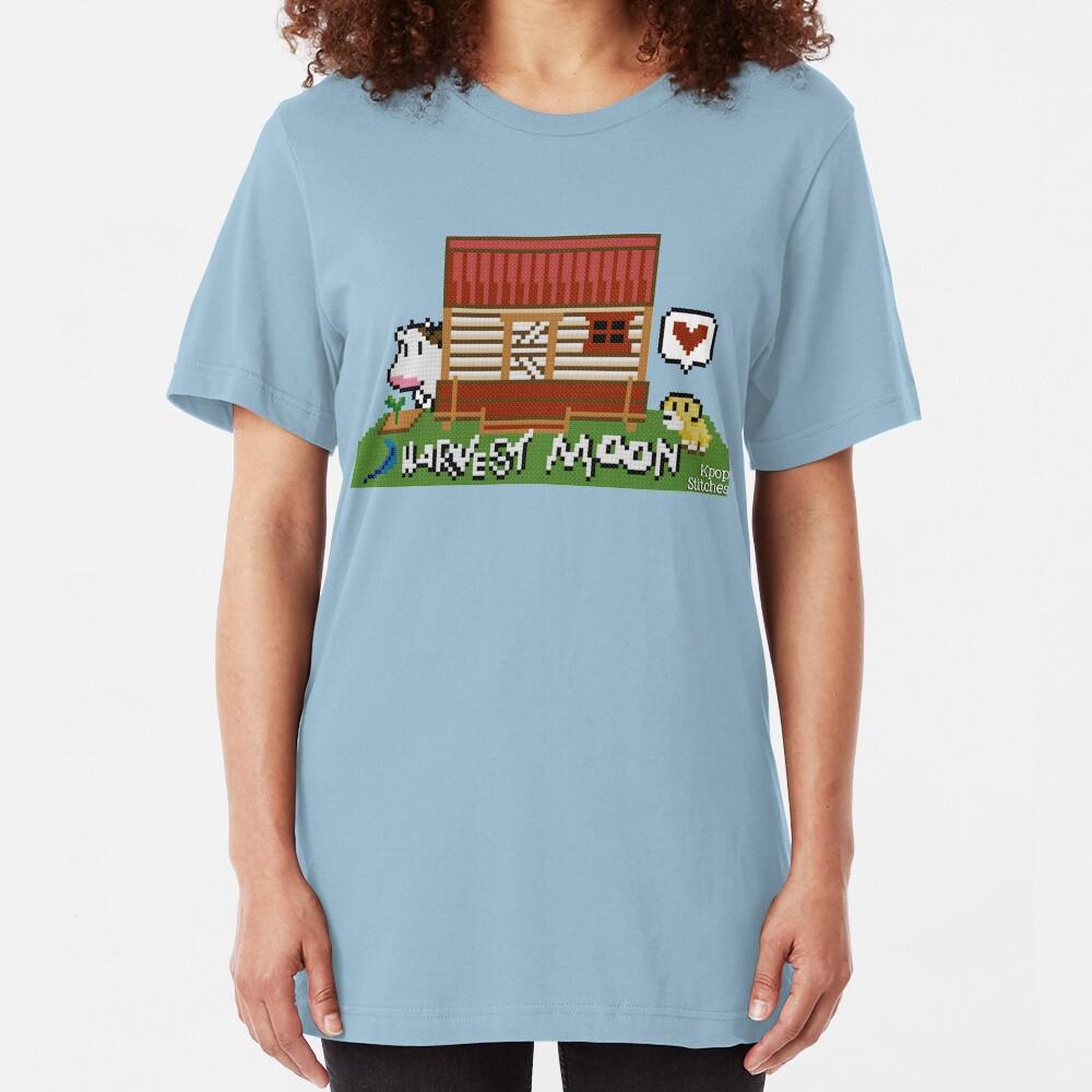 Harvest Moon (SNES) cross stitch design Slim Fit T-Shirt