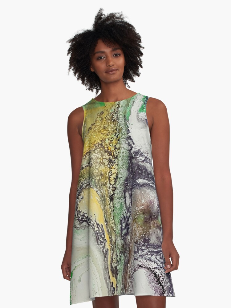 The rivers, acrylic on canvas A-Line Dress Front