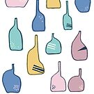 Memphis style inspired pastel color vases in different shape - graphic illustration by Takoo chy