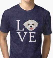 I Love Maltese Dog Lover Cute Doggie Face Tri-blend T-Shirt