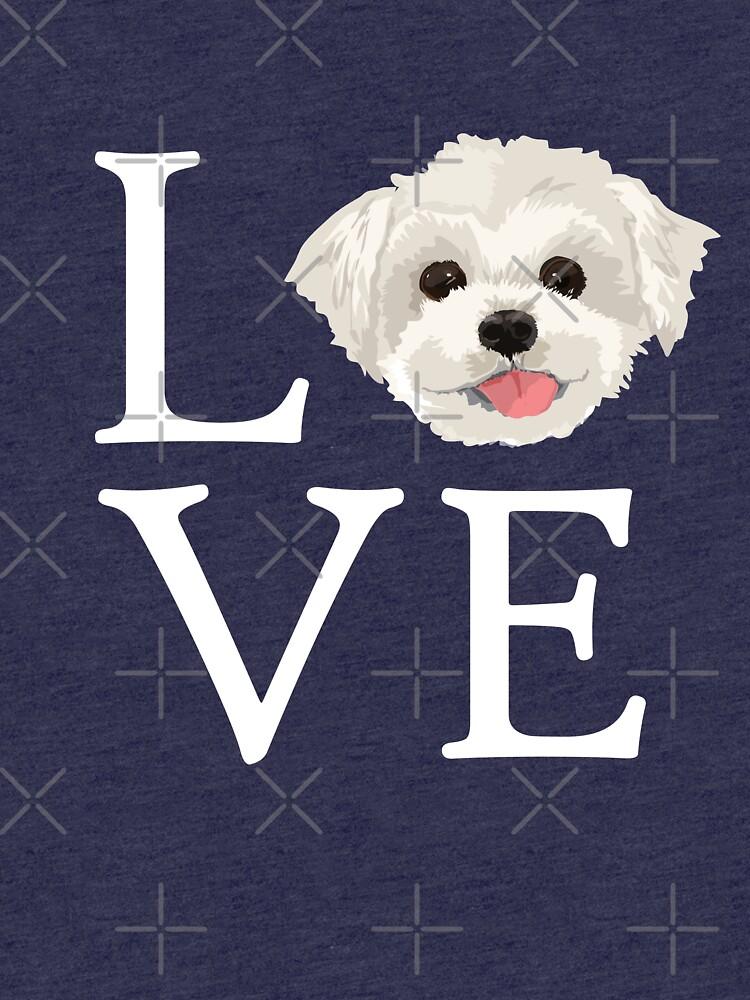 I Love Maltese Dog Lover Cute Doggie Face by JapaneseInkArt