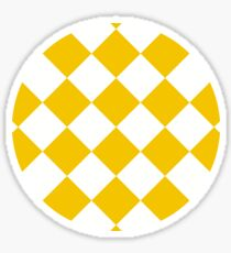 sloping chessboard, saturated yellow and white Sticker