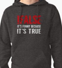 !False It's Funny Because It's True Programmer Quote Geek Pullover Hoodie