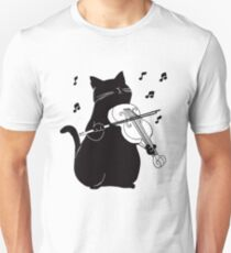 Black Cat Playing Violin Funny Musician Gift T-Shirt