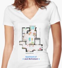Jack McFarland's apartment form 'Will and Grace' Women's Fitted V-Neck T-Shirt