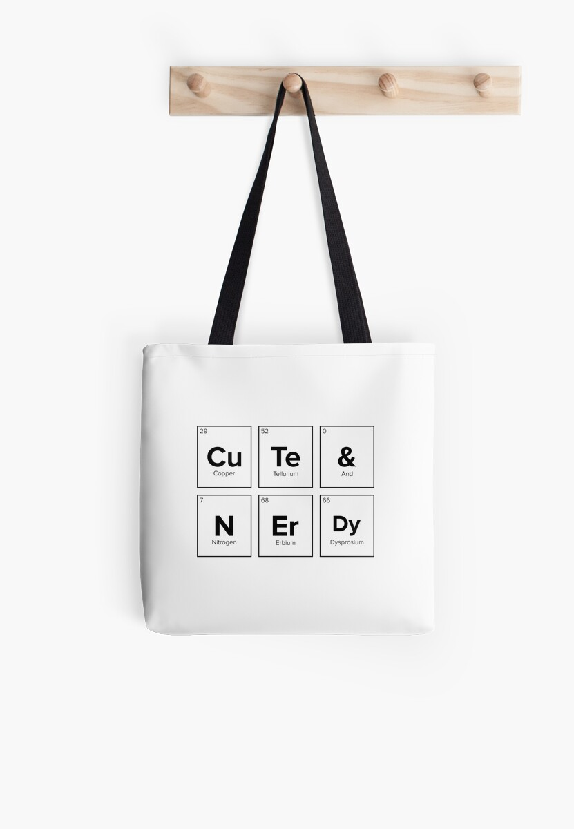 Cute Nerdy Chemical Symbols Tote Bags By Barber Design Redbubble