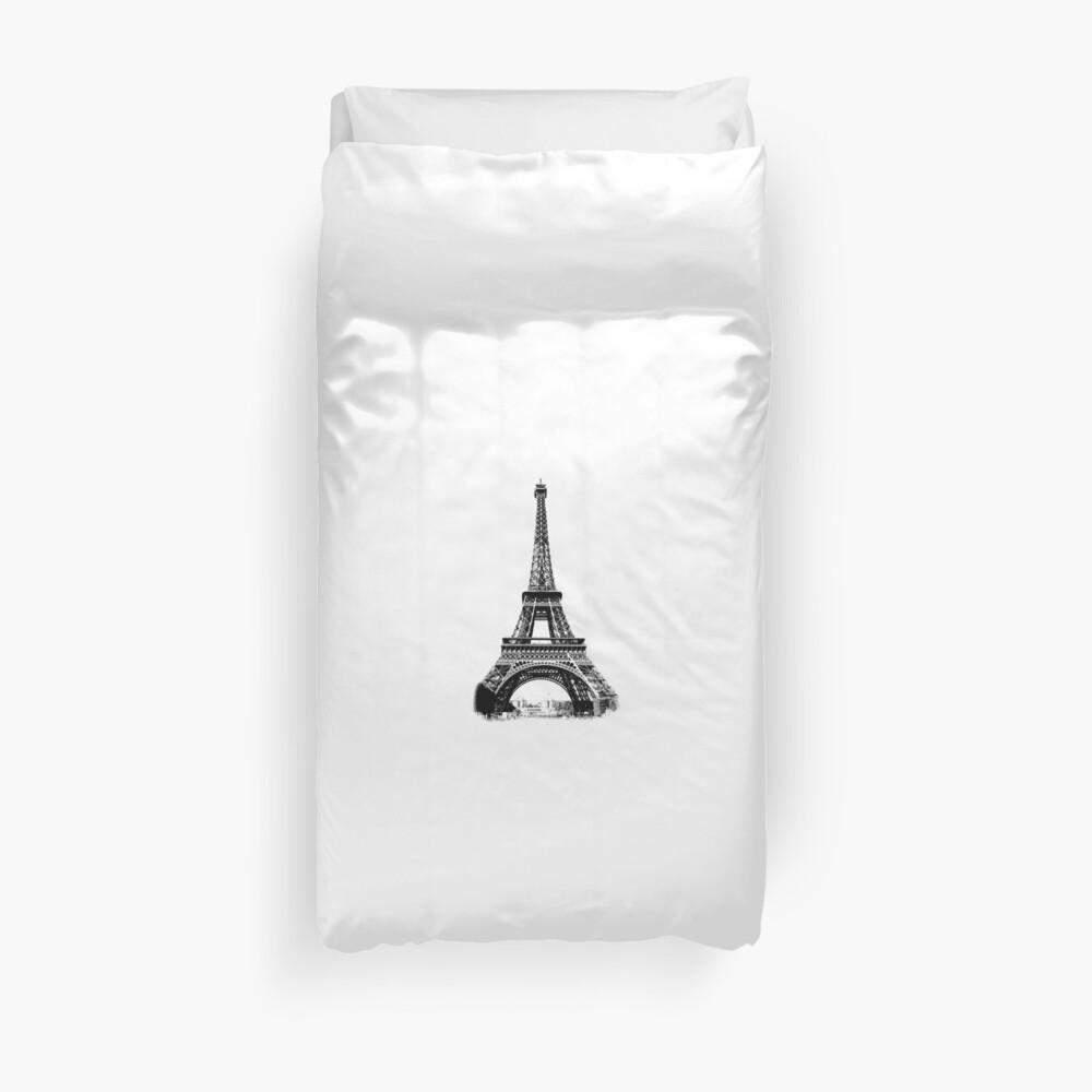 Eiffel Tower Digital Engraving Duvet Cover