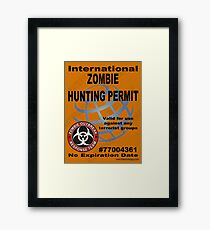 International ZOMBIE Hunting Permit V2 Framed Print