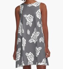 Beautiful White Roses Pattern A-line Dress A-Line Dress