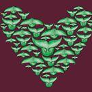 Walfluken als Herz /Tails of Whales as a heart green von Doris Thomas