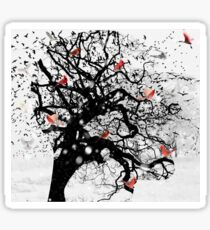 Red Birds in Snow by GEN Z Sticker