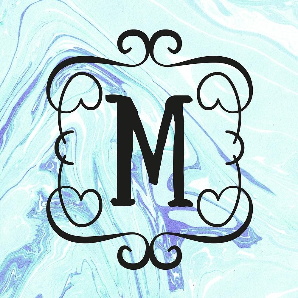 quotfancy monogram letter m marblequot by artillia redbubble