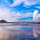 Tybee Island Beach And Pier On a Beautiful Day by Mark Tisdale