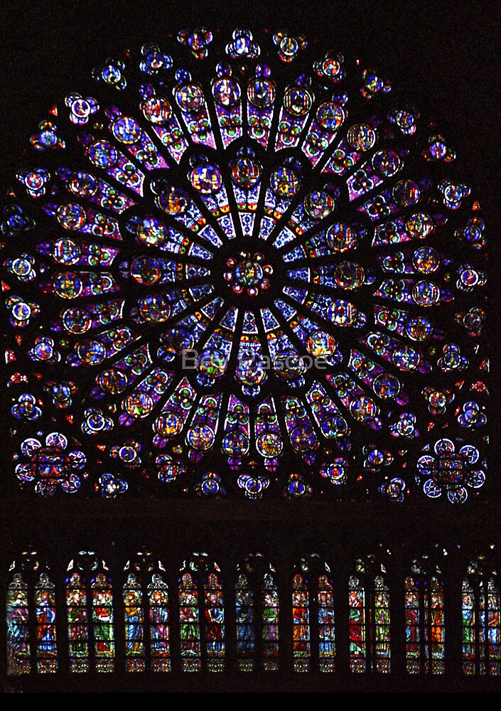 Rose Window, Notre Dame Cathedral, Paris by Bev Pascoe
