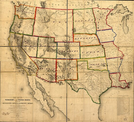 Western United States Territory Map (1858) by allhistory