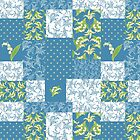 Lily-of-the-Valley Faux Patchwork Pattern on Blue by Judy Adamson