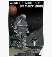 Arbeite mit der Nachtschicht am Marsmond Phobos Poster