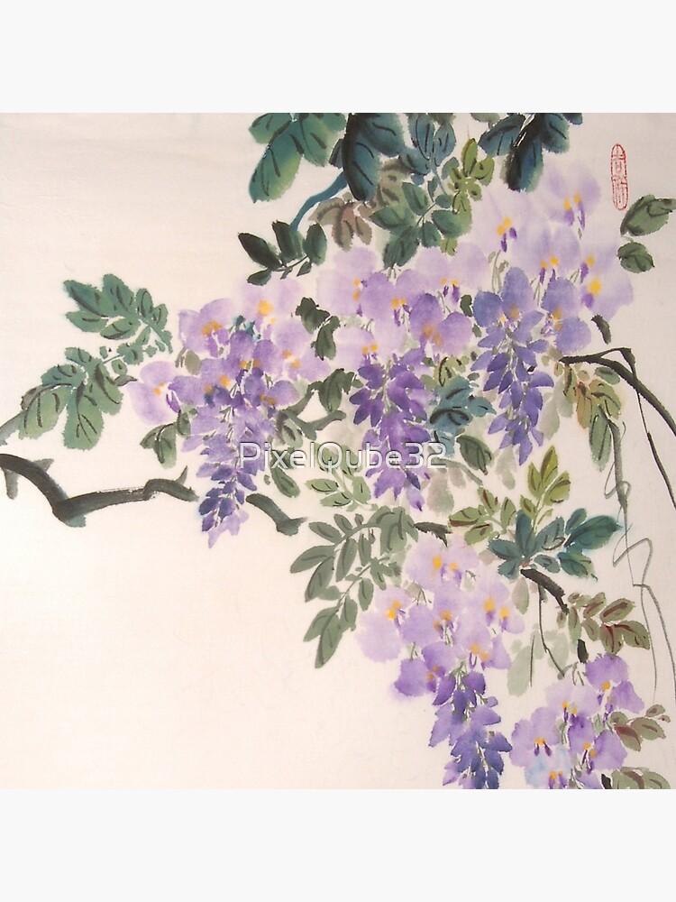 Chinesische Malerei Wisteria von PixelQube32