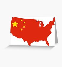 US Chinese Flag Greeting Card