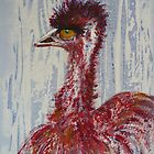 Emu in Red !!! by Kay Cunningham