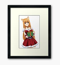 Anime christmas wolf holo from spice and wolf Framed Print