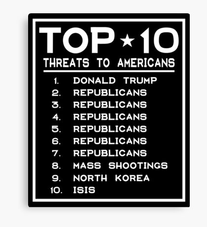 Top Ten Threats to Americans Canvas Print