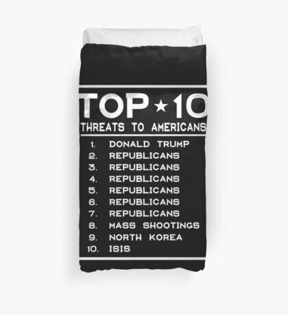 Top Ten Threats to Americans Duvet Cover