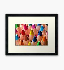 Group of multicolor pencils, close-up shot Framed Print