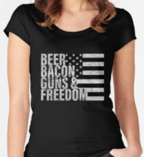 Beer Bacon Guns & Freedom T-shirt Flag Tee Women's Fitted Scoop T-Shirt