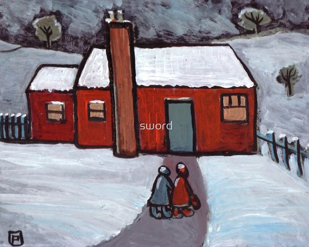 Little red house snowscene by sword