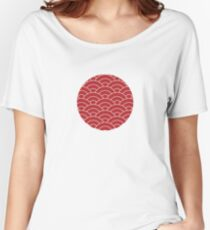 waves, white and brick red Women's Relaxed Fit T-Shirt