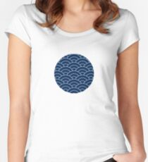 waves, white and navy blue Women's Fitted Scoop T-Shirt
