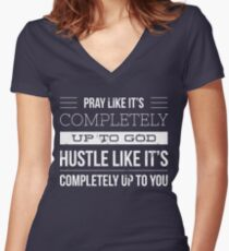 Pray / Hustle Women's Fitted V-Neck T-Shirt
