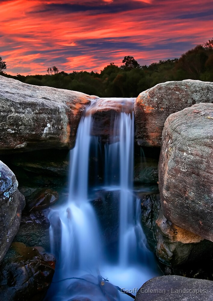 Sunset Cascade by Geoff  Coleman - Landscapes