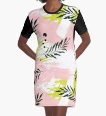 Palm contrast texture Graphic T-Shirt Dress