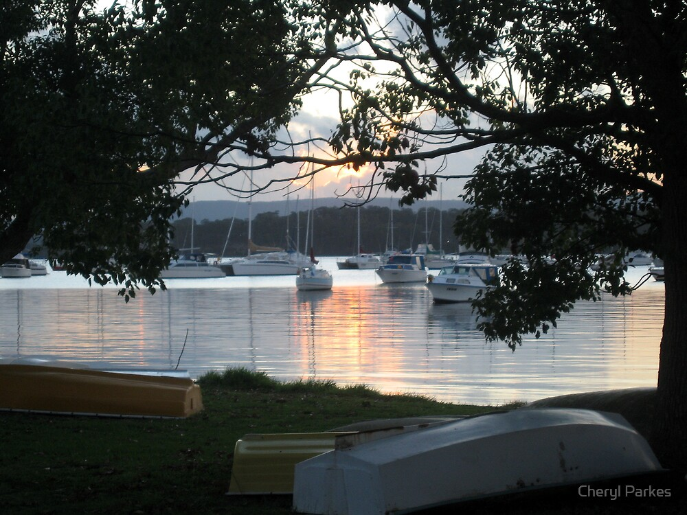 Boats in a Valentine Sunset by Cheryl Parkes