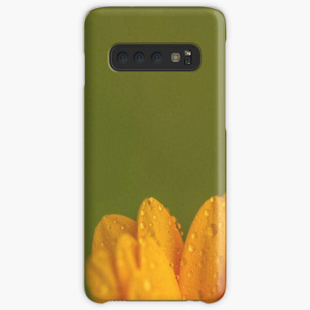 Wet Yellow Petals against Green background Case & Skin for Samsung Galaxy