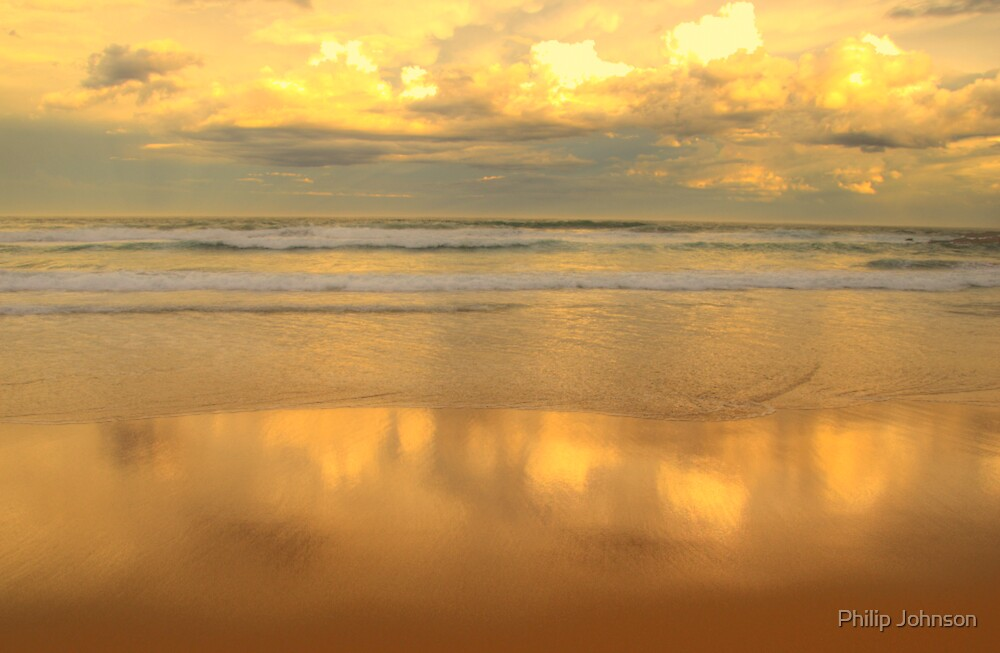 Golden Mirror - Warriewood Beach - The HDR Series by Philip Johnson