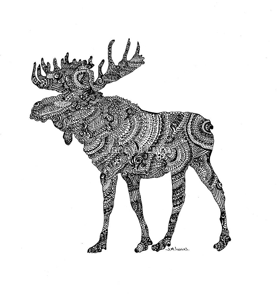 Doodling Moose by Jane M Lucas